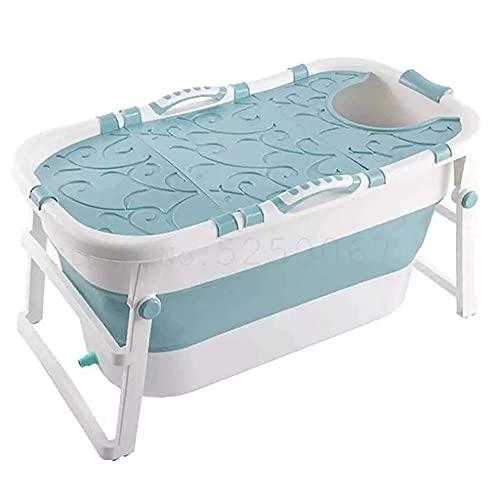 Sits Bañera portátil para Adultos Cubo de baño portátil de Gran Capacidad Canasta de Silicona Bañera para Mascotas Bañera de plástico para niños, se Puede sentar, con Tapa (Color : Blue)