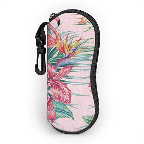 koniqiwa Gafas de sol gafas funda exótica hibisco, orquídea, hojas de palma, Paradiesvogel-Blume bolsillo Kratzfest staubsichere Brillenbox con Gürtelclip para llaves, lápices, mapas
