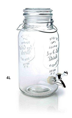 Saftspender 4 Liter aus Glas mit Zapfhahn Wasserspender Getränkespender Neu