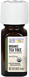 Aura Cacia 100% Pure Tea Tree Essential Oil | Certified Organic, GC/MS Tested for Purity | 7.4 ml (0.25 fl. oz.) | Melaleuca alternifolia