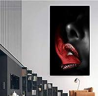"""セクシーな赤い唇と舌の写真北欧のポップポスターモダンなキャンバスの絵画家の装飾リビングルームの壁の芸術11.8"""" x21.7""""(30x55cm)フレームレス"""