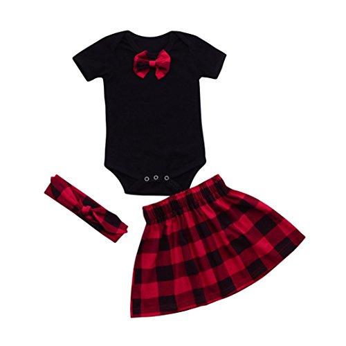 Longra Ensembles Jupe et Haut Bébé Fille Manche Courte Romper Bébé Tops Bébé Body Bébé Combinaison Bébé+Plaid Jupe Bébé Fille+Bandeau Bébé Mode Vêtements Bébé Originaux Pyjama Bébé (Noir, 6M)
