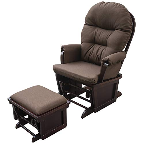 HOMCOM Nursery Glider Recliner Rocking Chair with Ottoman Set, Dark Coffee