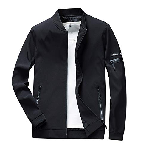 YOUTHUP hombres ligero bomber chaqueta Harrington luz béisbol chaquetas softshell cortavientos verano ropa deportiva Negro Negro-1801 XS