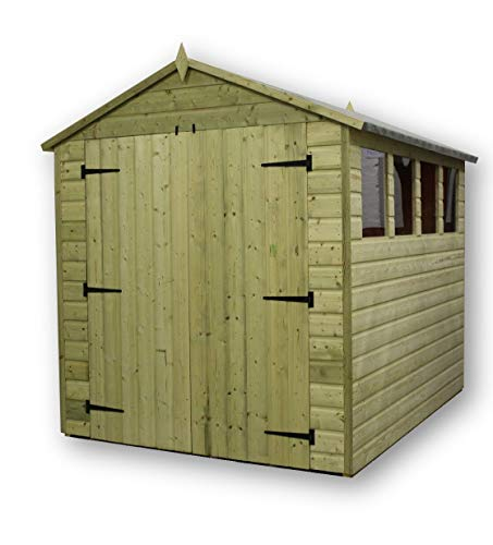 EMS Retail GARDEN SHED 8x10 SHIPLAP APEX TANALISED PRESSURE TREATED WITH 4 WINDOW'S DOUBLE DOOR