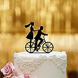 Dankeskarte.com Decoración para tarta de boda, cristal acrílico negro, XL, decoración para tartas, figura de boda, decoración para tartas, Mr Mrs