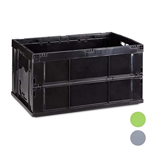 Relaxdays Profi Klappbox, stabil, Gewerbe, hochwertiger Kunststoff, Qualität, 60L, Kiste, 31,5 x 58,5 x 40 cm, schwarz