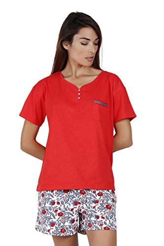 ADMAS Garden Pijama Manga Corta Blue and Red para Mujer
