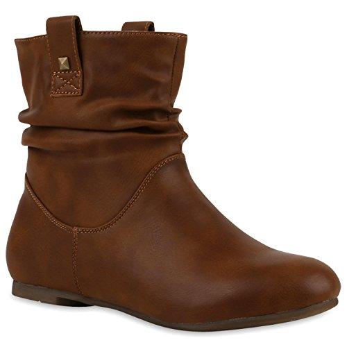 Stiefeletten Damen Schlupfstiefel Stiefel Flach Boots Nieten Leder-Optik Schlupfstiefeletten Schuhe 120941 Hellbraun 36 Flandell