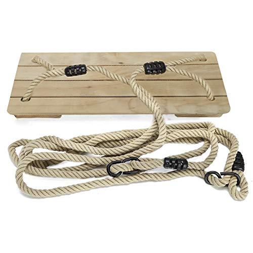 WHFY Columpio de madera para adultos y niños, con cuerda ajustable, para interiores y exteriores, soporta hasta 100 kg