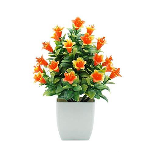 SuperglockT Künstliche Lilie im Topf kunstbonsai Mini Kunstpflanzen Zimmerpflanzen Kunst lilien Blumen klein Topfpflanzen Zimmer Büro Balkon Dekoration 21x15cm (Orange)