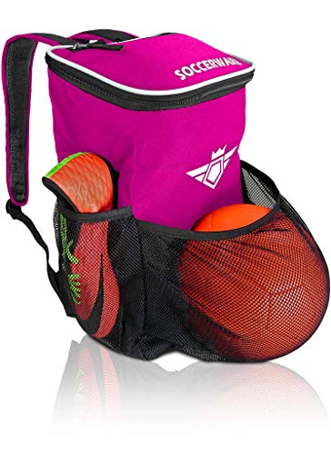 Soccer Backpack with Ball Holder Compartment - | Bag Fits All Soccer Equipment & Gym Gear (Pink)