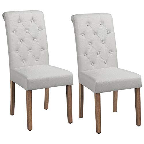 Yaheetech Esszimmerstühle 2er Set Küchenstuhl Polsterstuhl mit hoher Rückenlehne, Beine aus Massivholz, gepolsterte Sitzfläche aus Leinen, Beige