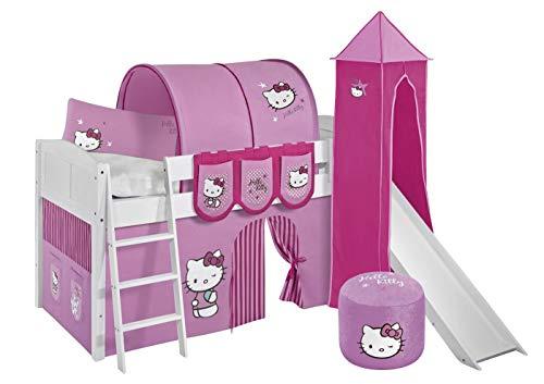 Lit surélevé ludique IDA 4106 90x200 cm Hello Kitty rose - Lit surélevé évolutif LILOKIDS - blanc laqué - avec tour, toboggan et rideaux