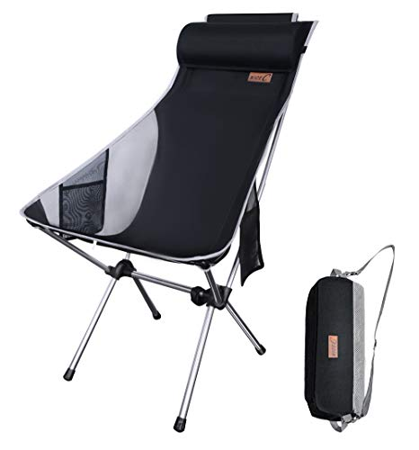 Nice C Silla De Camping Plegable Ultraligera con Respaldo Alto, Actualización con Almohada Extraíble, Bolsillo Lateral Y Bolsa De Transporte, Camping (Juego De 1 Negro)