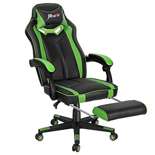 JR Knight Gaming Stuhl Computerstuhl Racing Stuhl Bürostuhl Ergonomischer Gaming Chefsessel Schreibtischstuhl mit Armlehne PC Stuhl mit Kopfstütze und Fußstütze aus Kunstleder Grün