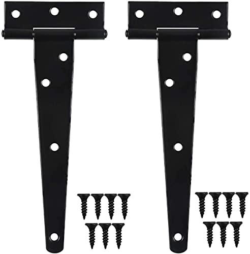 Chstarina 2 Piezas Bisagras en T Negro, Bisagras en T Galvanizadas para Puertas, Bisagras Resistentes para Puerta de Granero, Puerta de Cobertizo, Negro (6inch(150mm))
