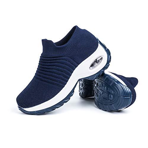 Sneakers Damen Turnschuhe Laufschuhe Sportschuhe Frauen Air Knit Mesh Atmungsaktive Leichte Gym Fitness Bequem Schuhe Blau Größe 35