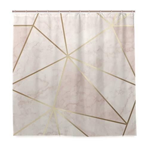 nonebrand Zara Duschvorhang-Set, schimmernd, metallisch, weich, rosa, goldfarben, für Badezimmer, Heimdekoration, Vorhang aus Polyester mit 12 Haken, 183 x 183 cm