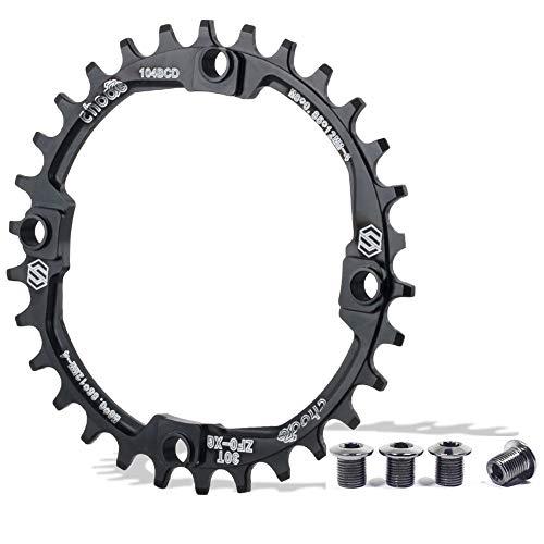 EASTERN POWER Plato Bicicleta Montaña, Plato 104 BCD 34 Dientes, Aluminio Platos 34T BCD 104 mm, Negro