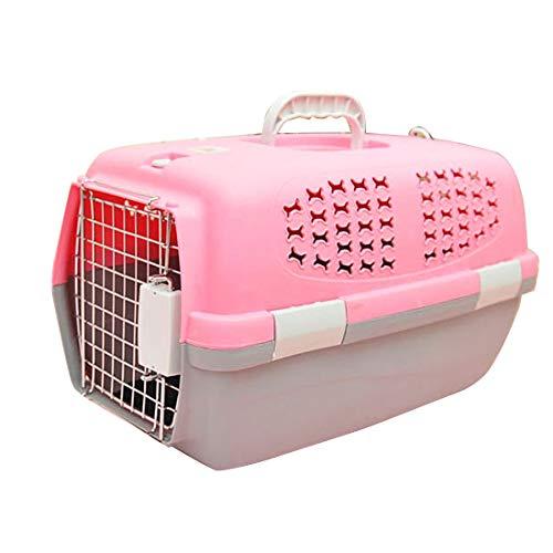 Luoshan Pet Airways Box revisó Las Maletas Jaulas de Transporte de Equipaje for Gatos/Perros y Otras Mascotas (Parte Superior sin Agujeros de ventilación del Techo Solar) Pequeño, tamaño: 47 * 31 *