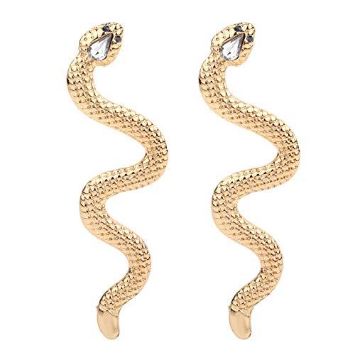 YANCHUN Gold Punk Snake Earrings for Women Gothic Wave Snake Tassel Drop Earrings for Girls (A:Gold Snake Earring)