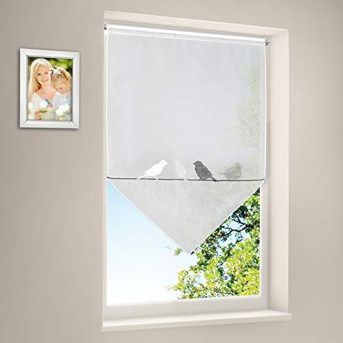 Scheibengardine Vogel Panneaux Türpanneaux Tür Gardine Fenster- und Türbehang Voile ca.50 x 70 cm Weiß/Grau