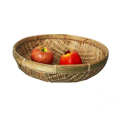 Cestas de bambú natural tejidas a mano, cesta de almacenamiento para verduras, recogedor, frutas, verduras, cesta de drenaje para aperitivos, comida, pan, cesta de almacenamiento