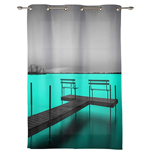 DaringOne 1 Panel Pier Window Curtain 36x52inch, Sliding/Patio Door Curtains, Window Treatments Draperies for Bedroom Living Room, Natural Scenery Lake Teal