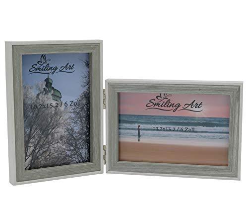 Smiling Art Bilderrahmen für 2 Fotos aus MDF Holz mit Glasscheibe, klappbarer Bilderrahmen, Doppelrahmen in Querformat und Hochformat (Weiß+Grau, 2x10x15 cm)