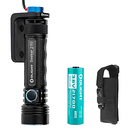 OLIGHT Seeker 2 Pro 3200 Lumens High Performance CW LED Side Switch Rechargeable Tactical Flashlight Law Enforcement Searchlight with Charging Dock