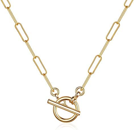 Turandoss Gold Paperclip Chain Necklace for Women 14K Gold Plated Toggle Clasp Simple Dainty product image