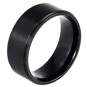 DonDon® Herren Ring Edelstahl schwarz – 63 (20.1)
