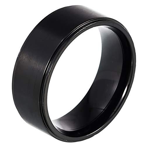 DonDon Anillo de Acero Inoxidable Color Negro – 23 (20,06 mm)