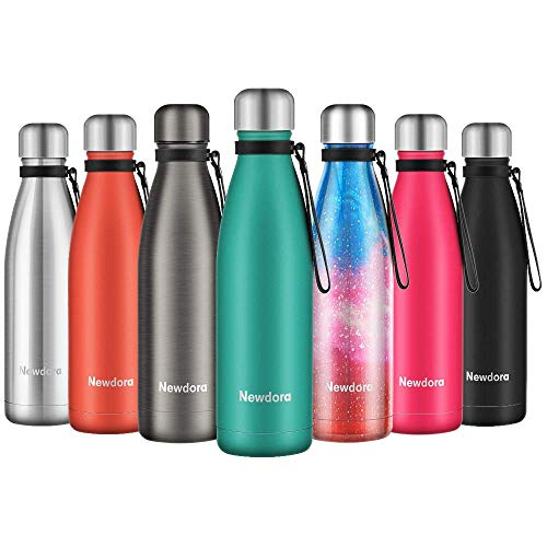Newdora Botella de Agua Acero Inoxidable 500ml, Aislamiento de Vacío de Doble Pared, Botellas de Frío/Caliente, con 1 un Cepillo de Limpieza, para Niños, Deporte, Oficina, Gimnasio, Ciclismo, Verde