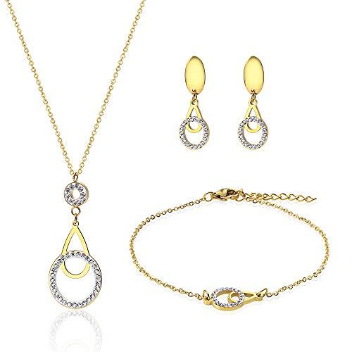 Gkmamrg Halsketting voor dames, goudkleurig, verguld roestvrij staal, 18 karaat armbandje met zirkonia, verstelbare ketting, 50 cm
