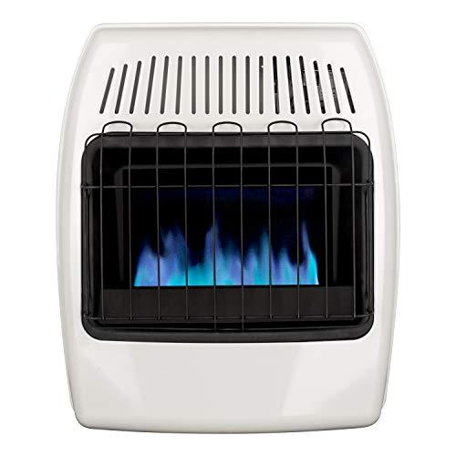 Dyna-Glo 20,000 BTU Natural Gas Azul Calefactor de pared sin ventilación por llama, Blanco