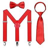Kinder Hosenträger Fliegen Krawatten Sets - Einstellbar Elastisch Klassisch Hosenträger Fliegen Set für 6 Monate alte - 13-jährige Jungen & Mädchen (Rot,65cm(5 Monate - 6 Jahre alt))