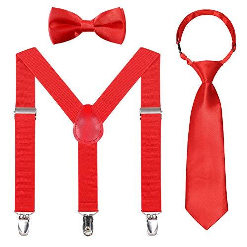 Kinder Hosenträger Fliegen Krawatten Sets - Einstellbar Elastisch Klassisch Hosenträger Fliegen Set für 6 Monate alte - 13-jährige Jungen & Mädchen (Rot,65 cm(5 Monate - 6 Jahre alt))