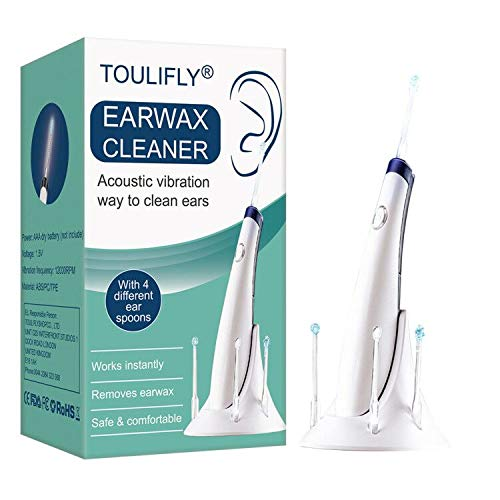 Ear Cleaner, Ear Wax Removal Kit, Ear Wax Removal Tool, Ear Cleaning, 4 Types Ear Spoons, Soft Silicone,with LED Light Powerful Suction for Easy Cleaning, Senior White
