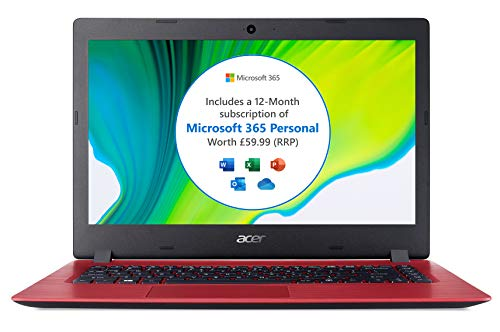 Acer Aspire 1 A114-32 14 inch Laptop (Intel Celeron N4020, 4GB RAM, 64GB eMMC, Full HD Display, Windows 10 in S Mode, Office 365 Personal, Red)