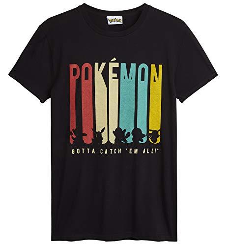 Pokemon T Shirt Herren, Pikachu Herren Tshirt Schwarz, Baumwolle Jungen Teenager Shirt mit Pikachu Bisasam Schiggy Glumanda Evoli, Sommerkleidung, Geschenke für Männer (S)