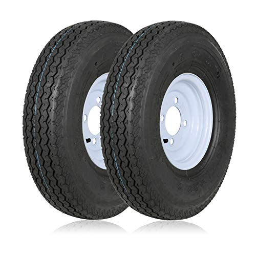 "Weize 480-8 4.80-8 4.80x8 4.8-8 Trailer Tires with 8"" White Rims,Load Range C, 6PR, Set Of 2"