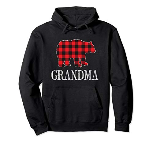 Buffalo Check Grandma Bear Matching Family Outfit Hoodie
