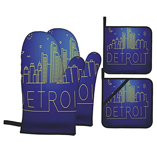Stampa grafica di Detroit City Sky View,Guanti da Forno e Set di Presine,4Pcs Resistenza al Calore...