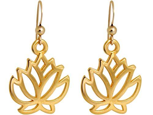 Gemshine YOGA Ohrringe Lotus Blumen Ohrhänger in Silber, hochwertig vergoldet oder rose. Nachhaltiger, Fair Trade, qualitätsvoller Schmuck Made in Spain, Metall Farbe:Silber vergoldet