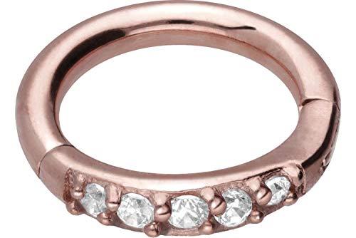 PIERCINGLINE Chirurgenstahl Segmentring Clicker | 5 EINGEFASSTE Kristalle | Piercing Ring Ohr Helix Tragus | Größen & Farbauswahl