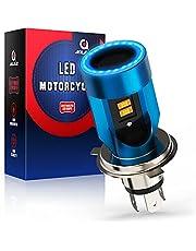 Lamp H4 LED met Angel Eyes, HS1 koplamp voor motorfiets, 6400 lm, DC 12 V, 1 stuks, blauw