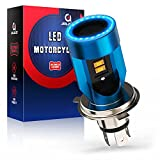 Bombilla H4 LED para Moto con Ojos de Angel, 6400LM Moto LED Faro,DC 12V 1 Lámpara-Azul