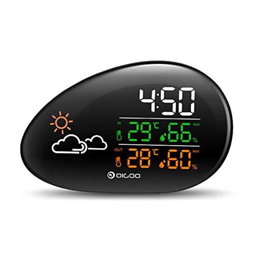 AILI Wetterstationen Kopfsteinpflasterform Wetterstation Wettervorhersage Thermometer Hygrometer Temperatur Luftfeuchtigkeit Uhr Schlummerfunktion Wetterstationen (Color : Black)